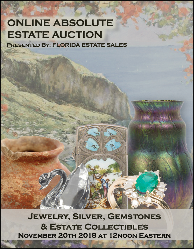 ABSOLUTE ONLINE ESTATE SALE AUCTION - Fine Jewelry, Silver, Asian, Art, Collectibles