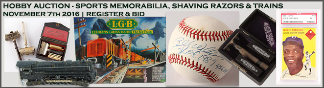 HOBBY AUCTION SPORTS MEMORABILIA SHAVING RAZORS TRAINS