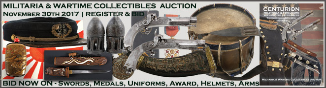Military Wartime Collectibles Auction Civil War WWI WWII Swords Bayonets Helmets Hats Awards Medals Flags Arms
