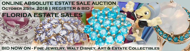 Estate Sale Online Auction Buy Sell Fine Jewelry Gemstones Walt Disney Department 56 Collectibles October 2018