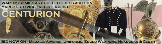 Military Collectibles Auction BID NOW Civil War WWI WWII Helmets Uniforms Edged Weapons Awards Medals Flags Cloth FES