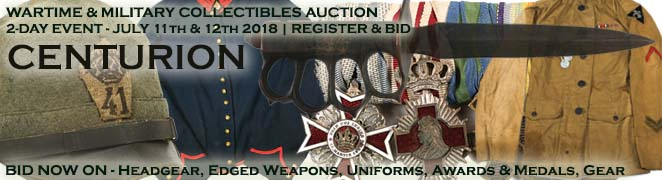 Bid Now on Militaria Wartime Collectibles Civil War Indian Wars WWI WWII Vietnam Helmets Edged Weapons Uniforms Cloth Medals FES