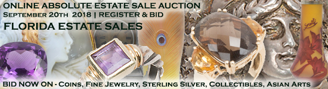 Estate Sale Online Auction Buy Sell Gold Silver Coins Estate Diamond Jewelry Art Collectibles Clocks September 2018