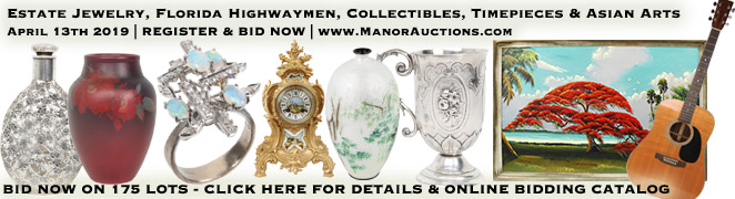 Diamond Jewelry Watches Porcelain Art Florida Highwaymen Paintings Collectibles Auction April 2019
